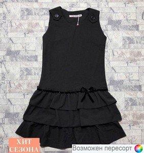 Платье школьное с оборками арт. 607516 - фото 1