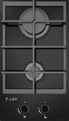 Газовая панель LEX GVG 321 BL черное стекло, домино, чугунные решетки Артикул: CHAO000175